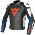 Dainese Super Speed Pelle Leather Jacket Black/White/Blue-Met