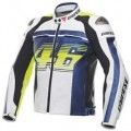 Dainese VR46 D1 Leather Jacket White/Blue/Yellow-Fluo