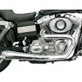 Bassani Road Rage 2-Into-1 Exhaust System (Chrome, Short Upswept Meg - Not Stepped, 1 3/4� Only) for FXD 06-13