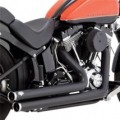 Vance & Hines Big Shots Staggered w/ Straight-Cut End Caps Full Exhaust System Black for FLST 12-14