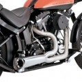 Vance & Hines Black Ceramic Powder-Coat Stainless Steel Competition Series 2-Into-1 Full Exhaust System for FXST 00-14