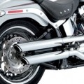 "Vance & Hines 3"" Round Twin Slash Slip-On Exhaust for FLSTF 07-16"