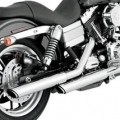 "Vance & Hines 3"" Round Twin Slash Slip-on Mufflers Chrome for FXDWG 91-09"
