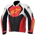 Alpinestars Men's Jaws Leather Jacket White/Red/Yellow-Fluo