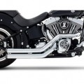 Rinehart Racing Cross Backs 2 Into 2 Exhaust System Staggered Chrome for Softail 86-13