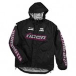 Icon Women's PDX Waterproof Shell Black/Pink (Closeout)