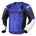 Icon Men's Overlord Prime Leather Jacket Blue