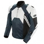 Joe Rocket Men's Radar Leather Race Jacket White/Gunmetal
