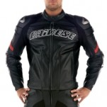 Dainese Racing Leather Jacket Black/Black/Red
