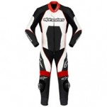 Alpinestars Men's Carver One-Piece Leather Suit Black/White/Red