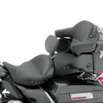 Mustang Seats Super Smooth Chrome Studded Touring Seat with Driver Backrest for FLHR 08-13