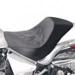 Saddlemen Renegade Deluxe Solo Seat (Plain Saddlehyde, Tattoo Flame) for VN900 Vulcan Classic 06-13