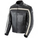 Joe Rocket Men's Old School Leather Jacket Black/Black/Ivory