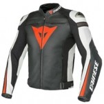 Dainese Super Speed Pelle Leather Jacket Black/White/Red-Fluo