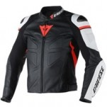Dainese Avro C2 Leather Jacket Black/White/Red-Fluo