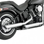 "Vance & Hines 3"" Round Twin Slash Slip-on Mufflers Chrome for FLST 07-14"