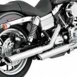 "Vance & Hines 3"" Round Twin Slash Slip-On Exhaust for FXDB 91-16"