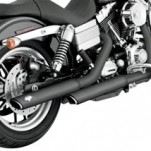 "Vance & Hines 3"" Round Twin Slash Slip-on Mufflers Black for FXDC 91-14"