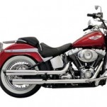 "Bassani 3"" Firepower Series Slip-On Muffler (Straight-Cut w/ Black Slashcut End Cap) for FLSTN 07-13 (Closeout)"