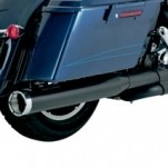 Vance & Hines Monster Rounds Slip-on Mufflers Black w/ Chrome Tips for FLTR 95-14