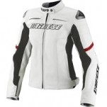 Dainese Racing Lady Leather Jacket White/White/Red (Closeout)