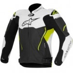 Alpinestars Men's Atem Leather Jacket Black/White/Yellow-Fluo