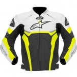 Alpinestars Men's Celer Leather Jacket Black/White/Yellow-Fluo