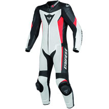 Dainese Crono Perforated Leather 1 Piece Suit White/Black/Red-Fluo