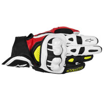Alpinestars Men's GPX Leather Gloves Black/Red/Yellow-Fluo