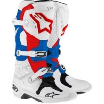 Alpinestars Men's Tech 10 Boots White/Red/Blue (Closeout)