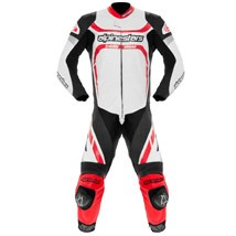 Alpinestars Men's Motegi One Piece Leather Suit White/Black/Red