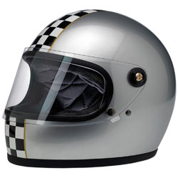 Biltwell Gringo S LE Checker Helmet Metallic-Silver/Black (Closeout)
