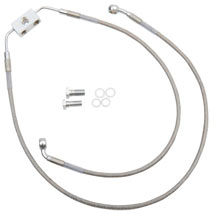 "Drag Specialties +6"" Extended Length ABS Stainless Steel Front Brake Line Kit w/ ABS (Upper/Lower) for FXDB 12-13"