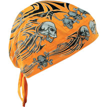 Zan Headgear Flydanna Headwrap Orange-Tribal-Skull