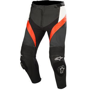 Alpinestars Missile Airflow Leather Pants Black/White/Fluo-Red