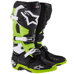 Alpinestars Men's Tech 10 Boots Black/Green (Closeout)